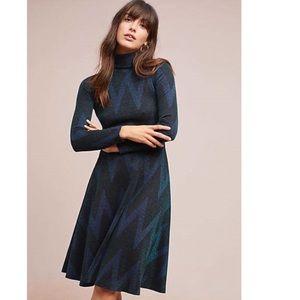 Ottod'Ame Chevron Turtleneck Sparkle Neck Dress
